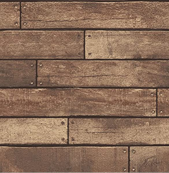Brewster Wallcovering Co Fd23277 Weathered Brown Nailhead Plank Wallpaper Amazon Com