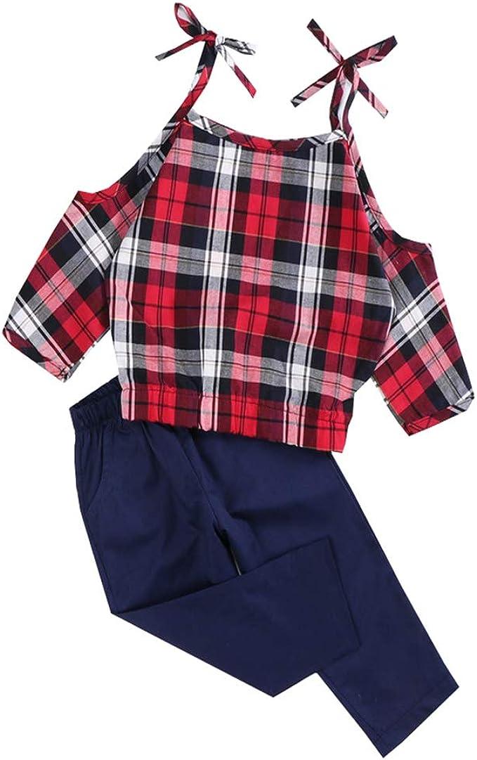 ALLAIBB Niñita Camisa a Cuadros roja Pantalones de Ocio Ropa sin Hombros 1-6años: Amazon.es: Ropa y accesorios