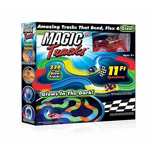 Magic Tracks,Panck Flex and Glow Racetrack with 11-Feet 220-Piece and 1 Rate Car
