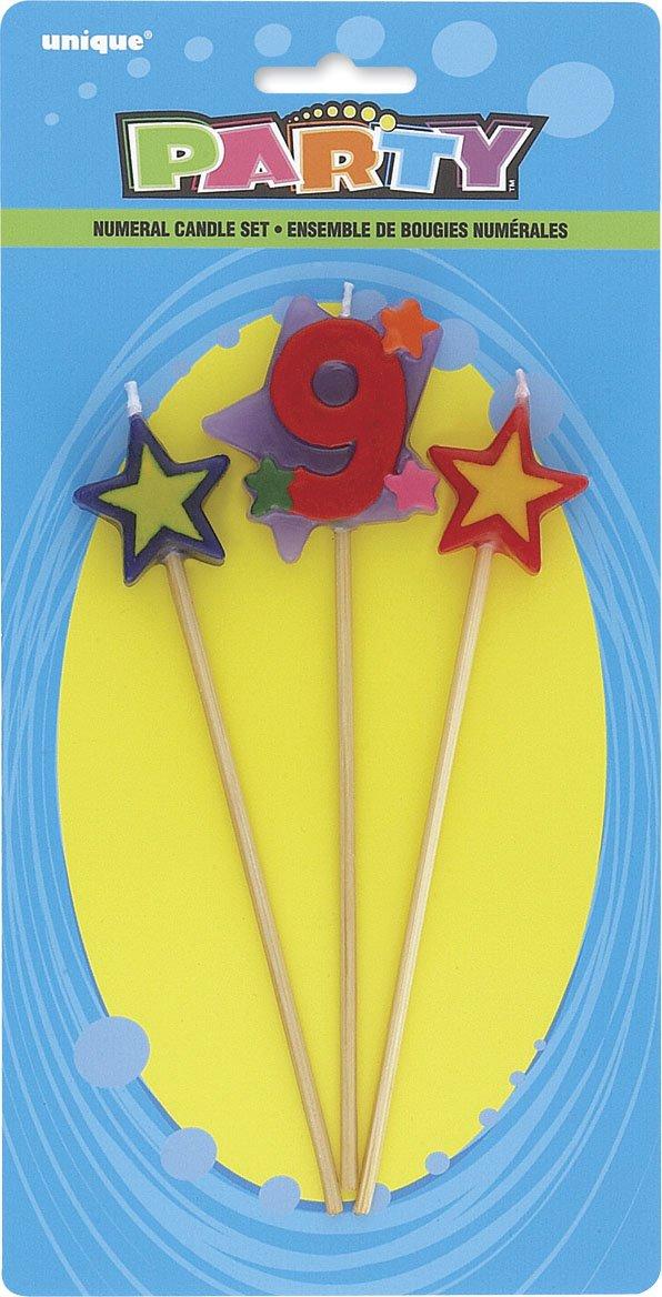 Unique Party Conjunto de 3 velas de cumpleaños con forma de estrella, número 0 34040