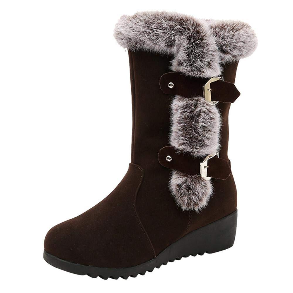 Logobeing Botas Mujer Invierno Botines Mujer Tacon Alto Plataforma Botas Mujer Cuñas Botas de Nieve de La Correa de La Hebilla Caliente Zapatos: Amazon.es: ...