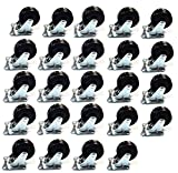 Black Duck Brand 24 Pack 2'' Swivel Caster Wheels Rubber Base with Top Plate & Bearing Heavy Duty (24 Silver)