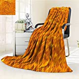 Decorative Throw Duplex Printed Blanket Modern Golden Color Mosaic Geometric Design with Mirror Like Artwork Orange and Marigold Yellow |Home, Couch, Outdoor, Travel Use/W59 x H79
