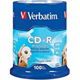 Verbatim 700MB 52x 80 Minute Blank White Surface Disc CD-R, 100-Disc Spindle 94712