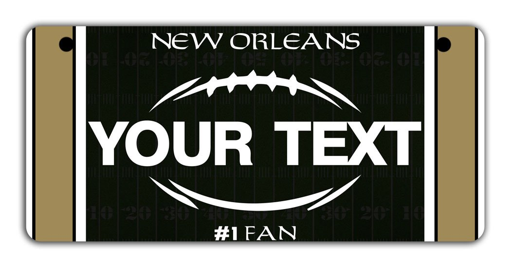 BRGiftShop Personalize Your Own Football Team New Orleans Bicycle Bike Stroller Childrens Toy Car 3x6 License Plate Tag
