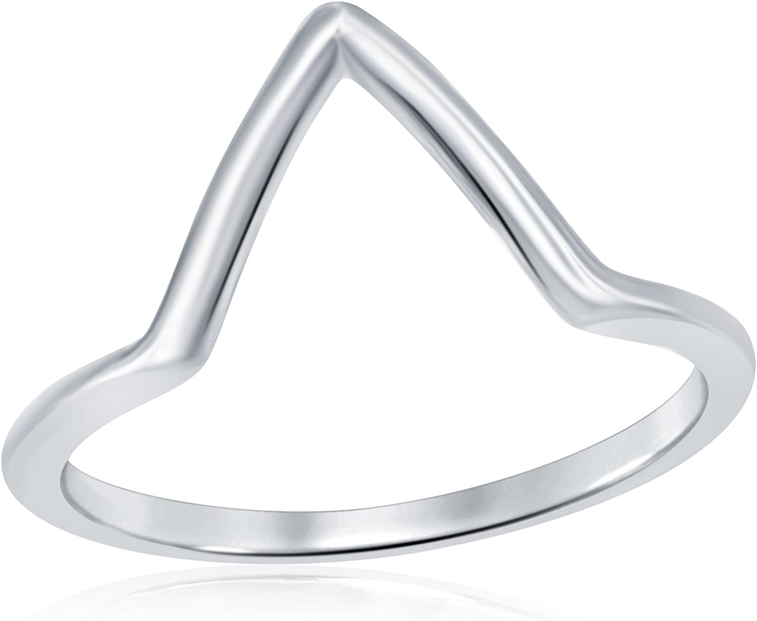 AceLay Solid Sterling Silver Chevron Thumb Ring Womens Point Stackable V Shape Wedding Rings Sizes 3-10