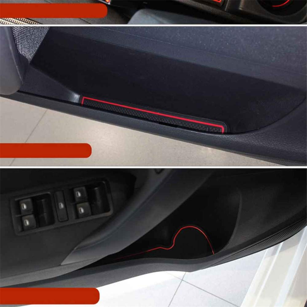 YCGJ Puerta de Coche Ranuras Cojines apoyabrazos Caja Almohadilla Antideslizante Ranura de la Almohadilla Auto Estera Interior a Prueba de Polvo para VW Volkswagen Polo 11-16