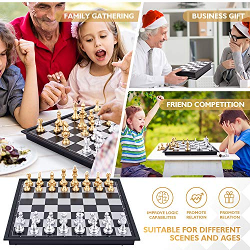 Peradix Juego de Ajedrez Magnético Plegable de 32 *32CM con Ajedrez, Damas y Backgammon, 3 en 1 Juego de Tablero de Ajedrez Clásico Portátil para niños y Adultos