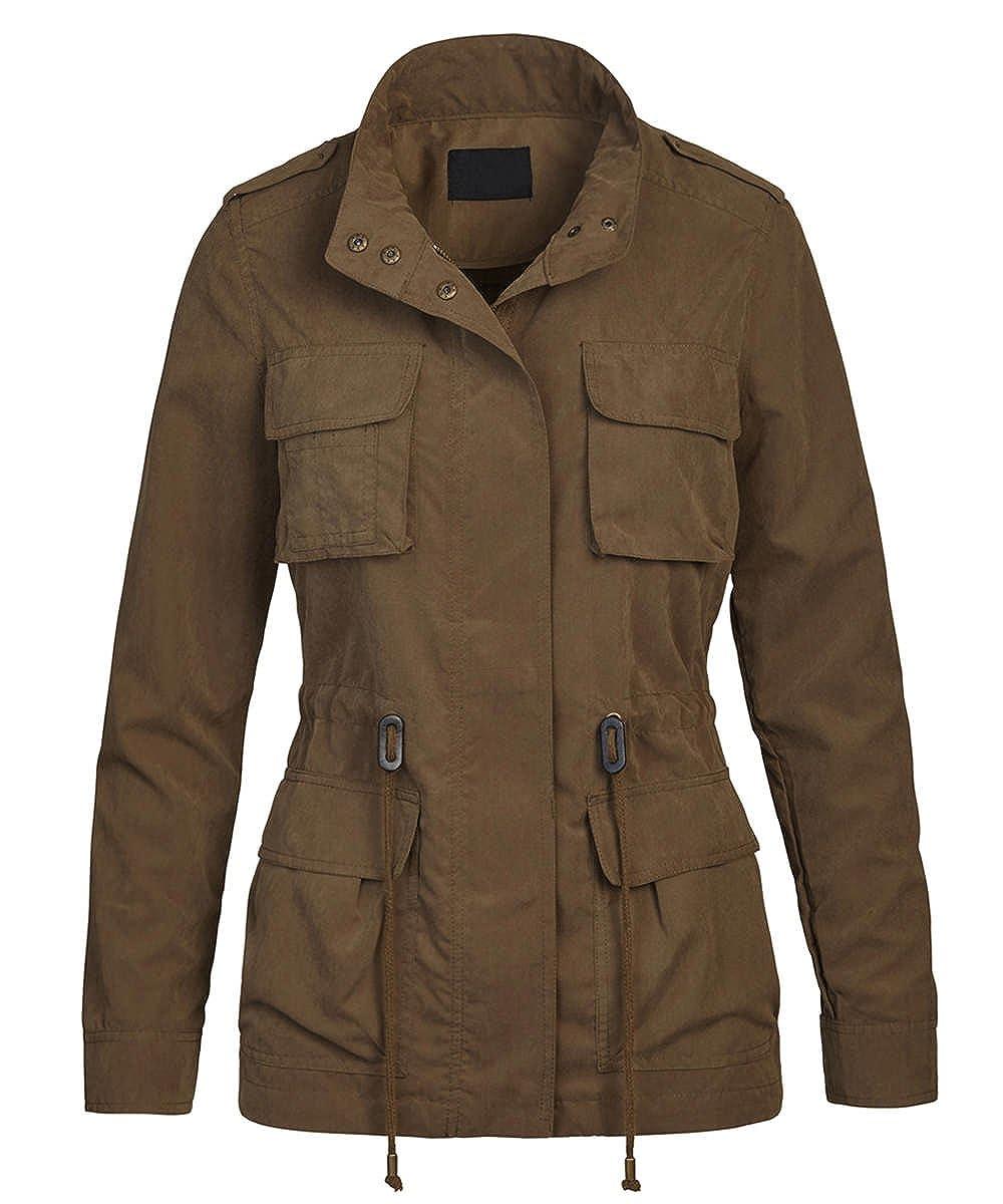 FASHION BOOMY Women's Anorak Military Safari Versatile Trench Jacket