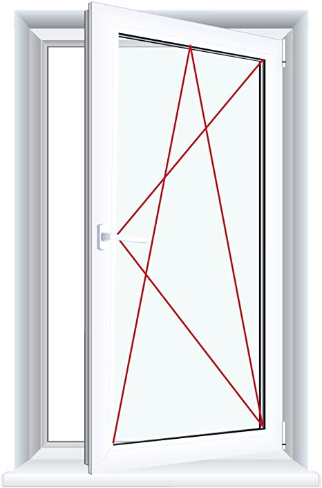 Glas:2-Fach Drutex Kunststofffenster wei/ß Dreh Kipp Anschlag:DIN Links BxH:900x1300