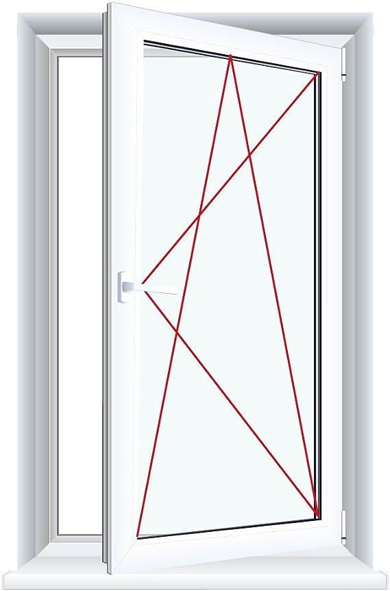 Kunststofffenster Badfenster Ornament Chinchilla Weiss Dreh//Kipp Glas:2-Fach Anschlag:DIN Rechts BxH:500x600