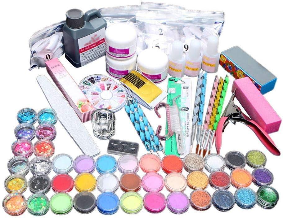 Uñas Acrilicas Kit Completo, Uñas Acrílicas y Uñas de Gel Accesorio para Manicura UV GEL Uñas Postizas Lima de Uñas DIY Uña Arte Herramiento para Nail Art Juego Completo Kit