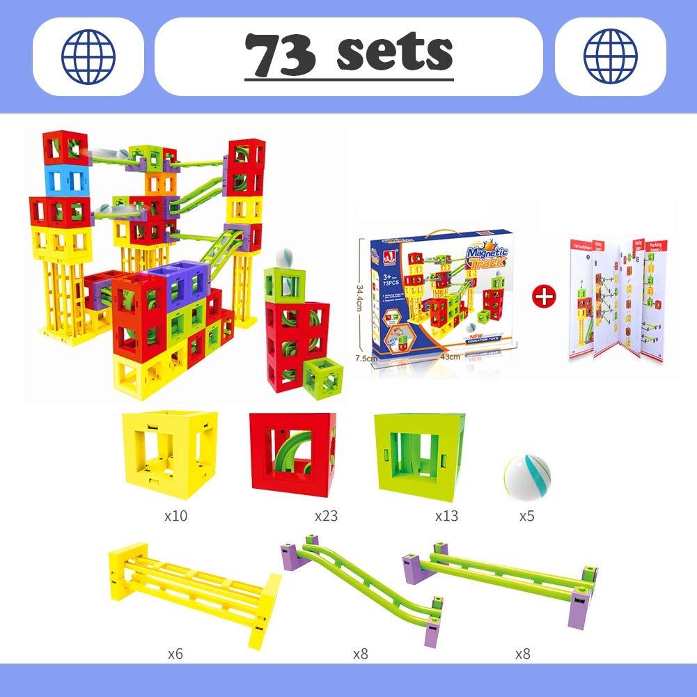 Hzl Magnéticas Pista de Construcción Conjunto de Tejas Magnéticas Educacionales para Construcción Juguetes Apilados para Niños 4 modelos,4