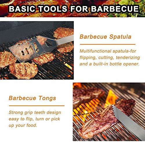 26 Pièces Set Barbecue Accessoire Acier Inoxydable Barbecue Ensemble D'outils pour d'anniversaire Fête des Pères - Camping Grillades Malette Ustensiles Barbecue Idéal Cadeaux