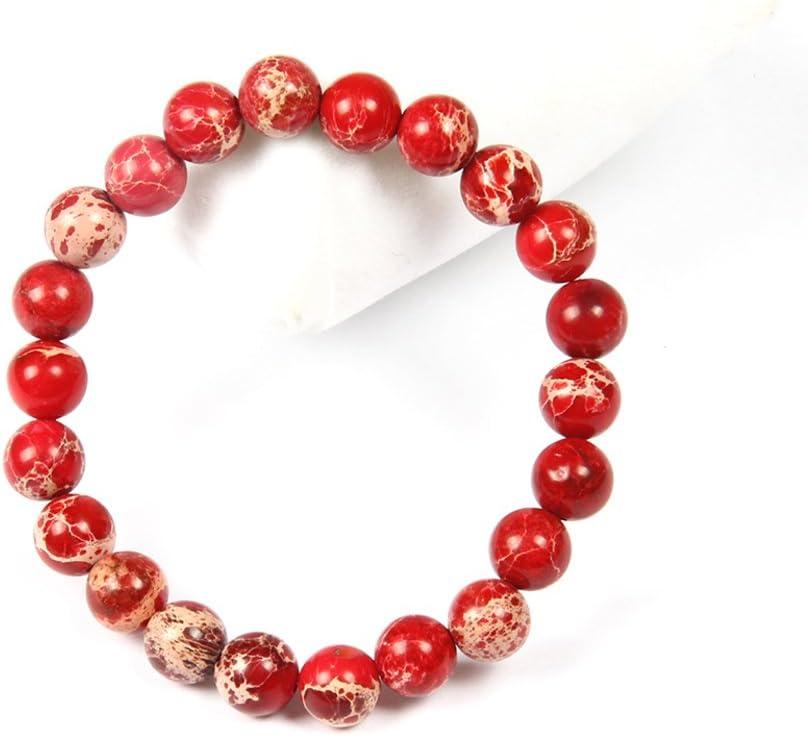 Bracelet Chakra en Jade pour Homme et Femme. Good.Designs Bracelet de Perles de Chakra en Jaspe s/édimentaire Marin de 8 mm ou 10 mm Pierres Naturelles Rouge 8mm