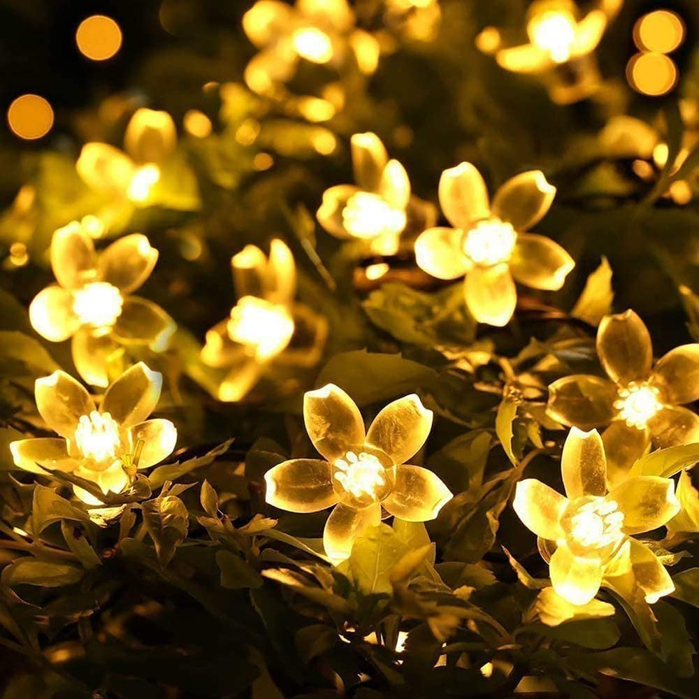 SUPREPOWER Solar Flower String Lights, 21ft 50 LED Cherry Blossom Starry Fairy Lights with 8 Lighting Modes Waterproof Decorative Lighting for Party, Patio, Christmas, Garden, Home