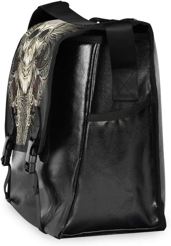 Laptop Computer Casual Canvas Satchel Shoulder Bag Traveling Camping Ladybug Messenger Bag Skull Feathers Wings Vintage for Men Women Student