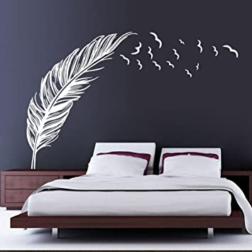 Ouneed Wandaufkleber Wandtattoo Wandsticker, Neuer Wand Aufkleber Vögel  Feder Schlafzimmer Abziehbild Wandkunst Dekor (Weiß)
