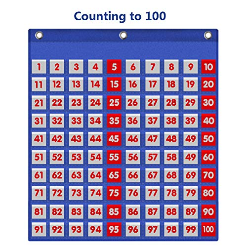 (Eamay Hundreds Pocket Chart with 130 Number Cards, Number 1-100 Board Pocket Chart for Teacher Lessons in a Classroom or for Use at Home (100 Pockets))