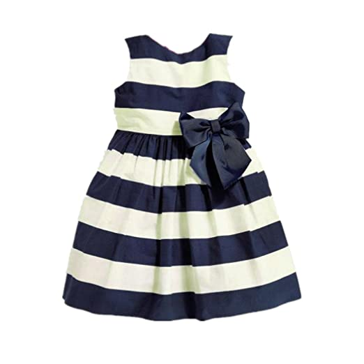 f6ad0e6415a9 Amazon.com  Jarsh Kids Baby Girls Cute Sleeveless Stripe Bow Dress ...