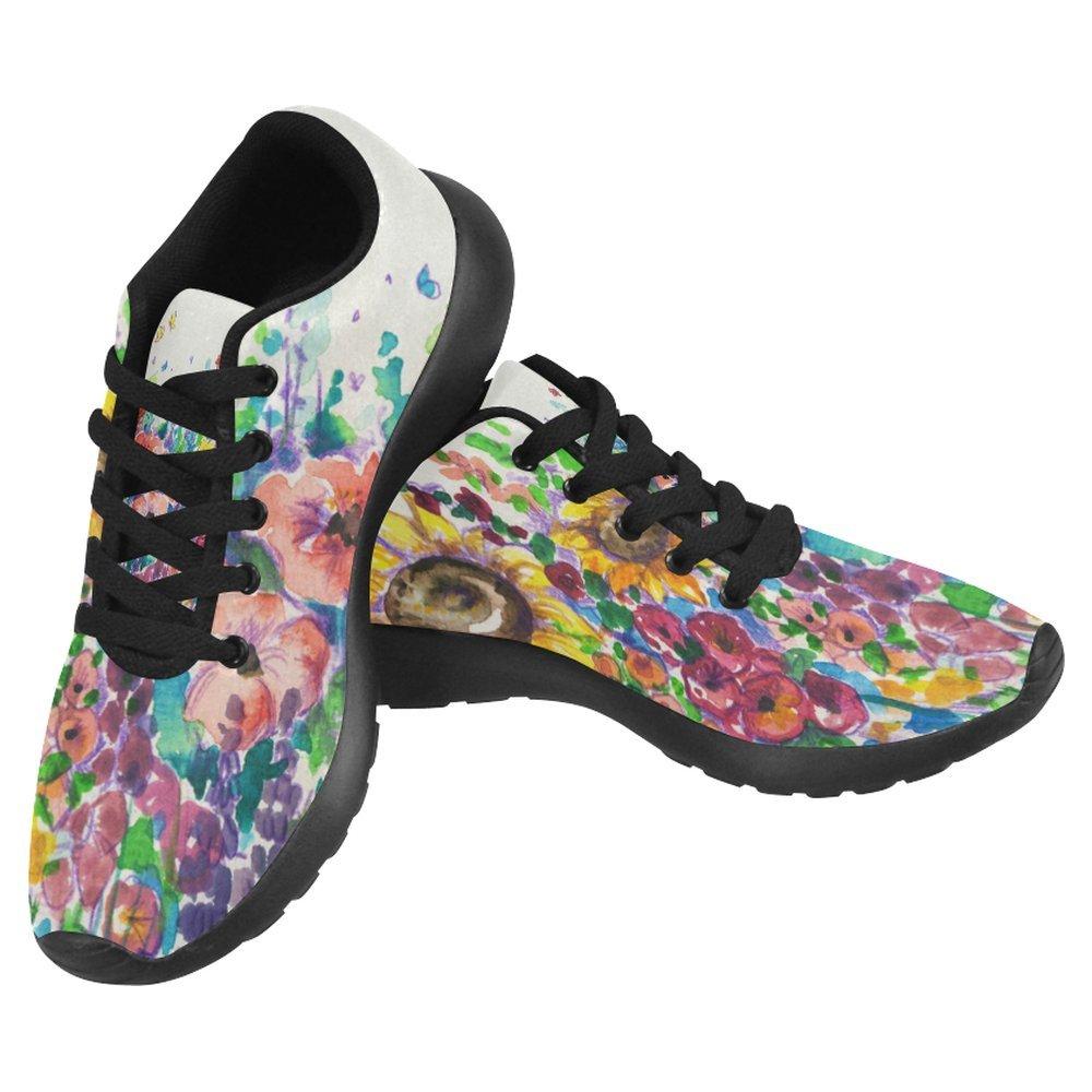 InterestPrint Women's Jogging Running Sneaker Lightweight Go Easy Walking Casual Comfort Running Shoes Size 7 Summer Flowers in Garden