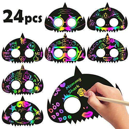 MALLMALL6 24Pcs Baby Shark Mask Rainbow Scratch Art Shark DIY Masks Party Favors Color Reveal Scratch Paper Sharks Theme Birthday Party Games Supplies Dress Up Costumes Crafts Kit for Boys Girls -
