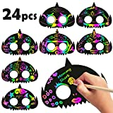MALLMALL6 24Pcs Shark Mask Rainbow Scratch Paper DIY Masks Kids Decoration Kit Color Reveal Scratchboard Sketch Pad Sharks Theme Birthday Party Supplies Dress Up Costumes Art Crafts for Boys Girls