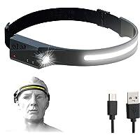 Bud K Rechargeable LED Headlamp with 230° Illumination, Waterproof, 4 Modes, Motion Sensor Headlamp, USB Headlamp for…