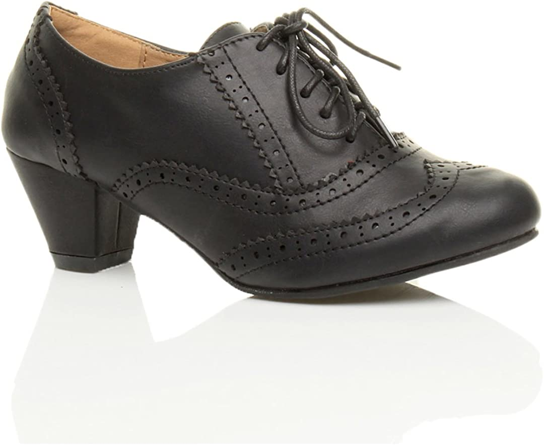 Vintage Style Shoes, Vintage Inspired Shoes Ajvani Womens Ladies mid Low Block Heel Cut Out lace up Comfort Rubber Sole Brogue Shoe Boots Booties Size £19.99 AT vintagedancer.com