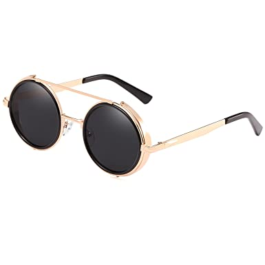 CVOO Round Retro Sunglasses Driving Alloy Frame Glasses Men Women Steam Punk Esudk94