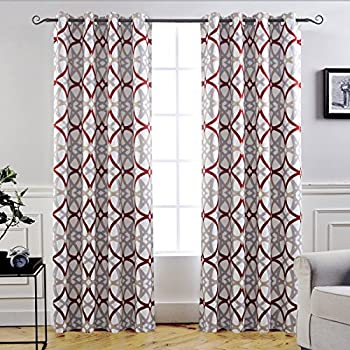 DriftAway Alexander Thermal Blackout Grommet Unlined Window Curtains Spiral Geo Trellis Pattern Set Of Two Panels Each Size 52x84 Red Gray