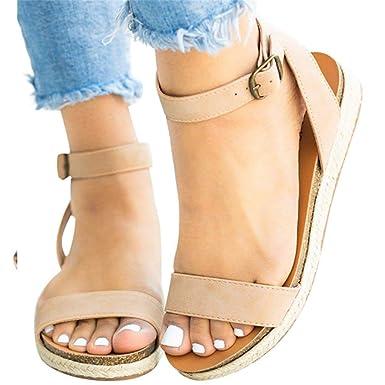 75e65d442c272 Amazon.com: Summer Flat Wedge Sandals Shoes Ankle Buckle Strap ...
