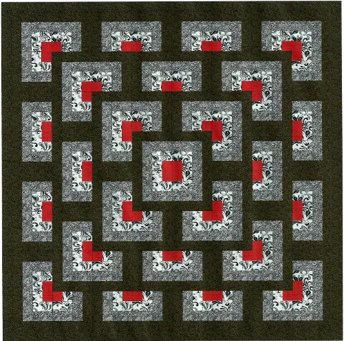 Easy Quilt Kit Boxed Maze!! Red, Black, White/Queen/EXPEDITED SHIPPING by Galaxy/RJR