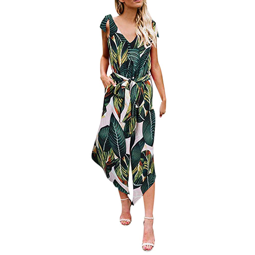 【MOHOLL】 Women Outfit Sleeveless Shoulder Bandage Waistband Sexy V-Neck Wide Leg Long Jumpsuit with Belt Green