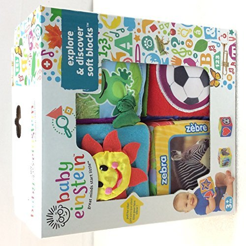 Baby Einstein Explore and Discover Soft Block Toys, baby learning toy 4-block set by Baby Einstein