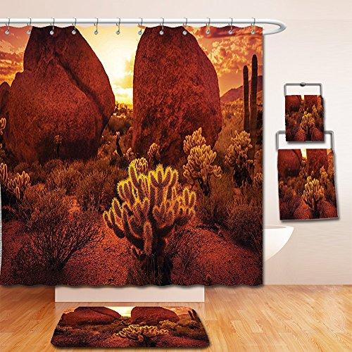 Nalahome Bath Suit: Showercurtain Bathrug Bathtowel Handtowel Saguaro Cactus Decor Dramatic Desert Scenery Like Burnt by Sun Near Scottsdale Hot Rocks Serene Western Image - Square Scottsdale Fashion