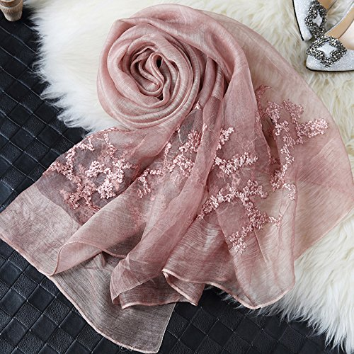Mist Wool Scarf - KYXXLD Embroidered Silk Scarf Wool Silk Scarf Shawl and All-Match,Evening Mist - Rose Powder