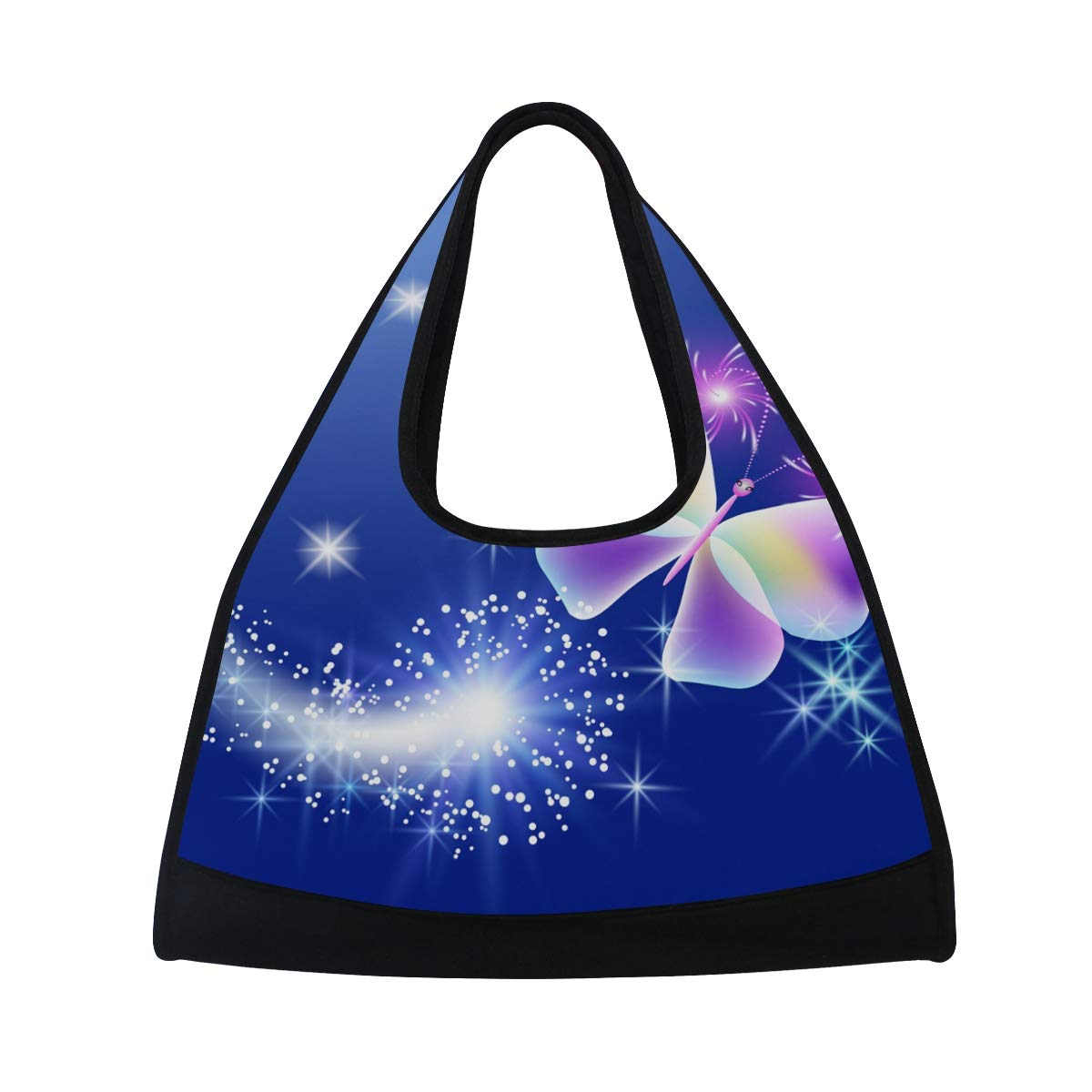 Gym Bag Sports Holdall Butterfly With Stars Canvas Shoulder Bag Overnight Travel Bag for Men and Women