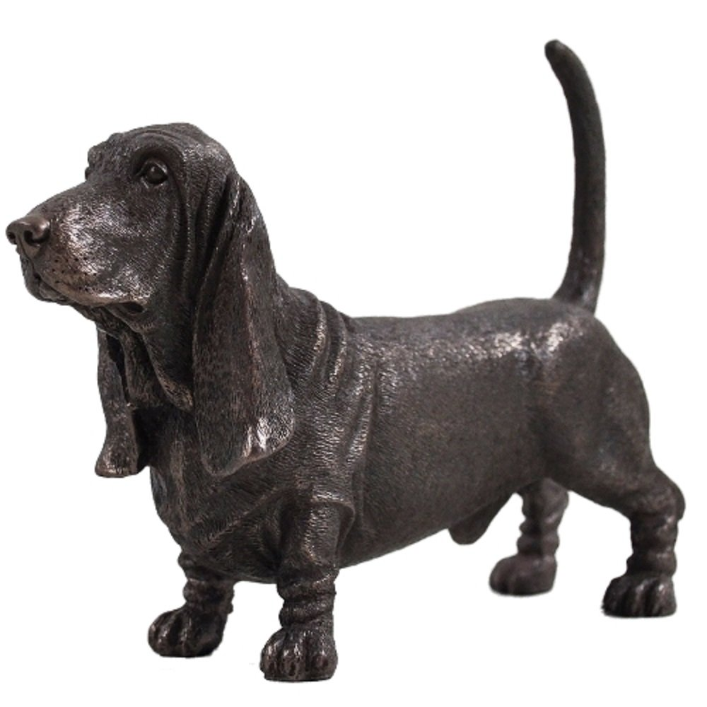 Bassett Hound Dog Sculpture Cold Cast Bronze Statue Ornament Figurine Home Decor Pets Gift Idea H12cm Fiesta Studios