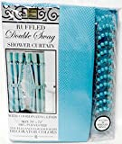 Double Swag Shower Curtain Double Swag Fabric Shower Curtain with Vinyl Liner and 12 Roller Shower Rings (Turquoise)