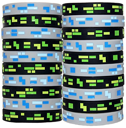 8-Bit Pixelated Wristbands Birthday Party Favors (Set of 20 Bands)