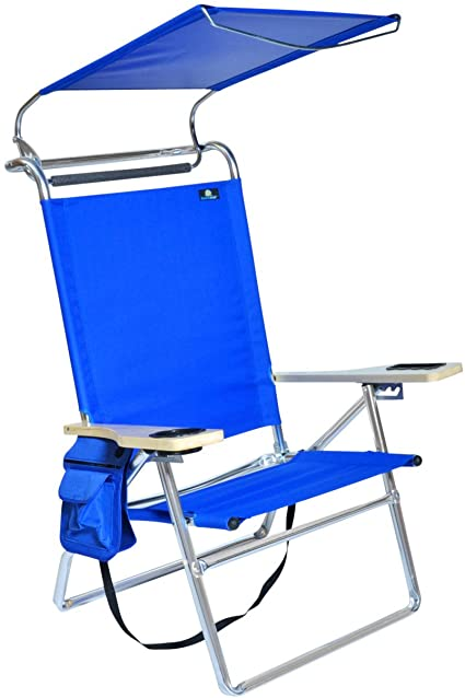Amazon Com Deluxe 4 Reclining Positions Lightweight High Aluminum Beach Chair With Canopy Shade Drink Holder Storage Pouch Camping Chairs Sports Outdoors