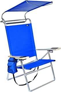 Deluxe 4 position Aluminum Beach Chair w/ Canopy u0026 Storage Pouch  sc 1 st  Amazon.com & Amazon.com : Quik Shade Folding Beach Chair - Striped Navy Blue ...