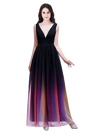 051ab238142d2f Clearbridal Damen Formale Chiffon Abendkleid Farbverlauf Bandage Maxikleid  Brautjungfer Kleid CSD231: Amazon.de: Bekleidung