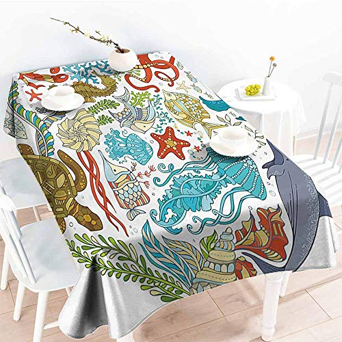 Homrkey Easy Care Tablecloth Ocean Fish Sealife Octopus Whales Dolphin Moss Starfish Turtle World Shaped Artwork Print Multicolor Soft and Smooth Surface W50 xL80