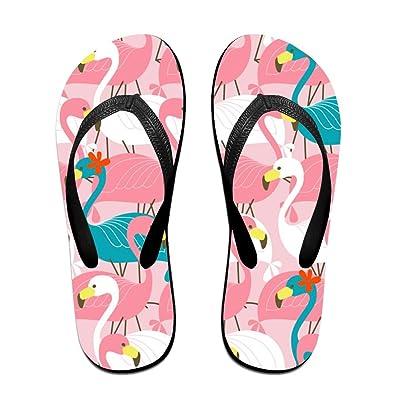 c397b3a6fa28 Flower Colorful Flamingo Unisex Fashion Beach Sandals Classical Flip Flops  Thong Sandals Black Size  S