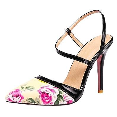 TAOFFEN Damen Spitze Zehe Ankle Strap Sandalen