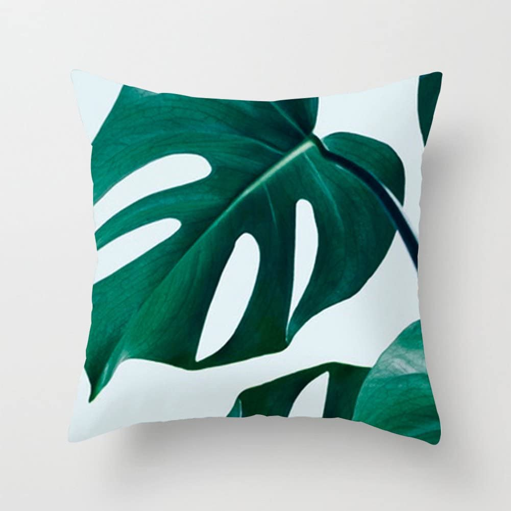 Aremazing Summer Tropical Green Leaves Super Soft Home Decorative Throw Pillow Case Cushion Cover Protector 18 x 18 Inch Square Home Sofa Bedding Decor (Green Leaves 04)