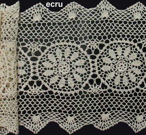 Creative Linens 14x36 Crochet Lace Table Runner Beige 100% Cotton Handmade 1PC