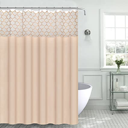 Light Gold Sheer White Panel Embroidered Trellis Fabric Shower Curtain